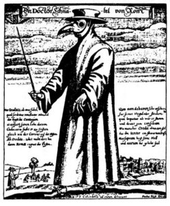 """Doctor Schnabel von Rom"" (English: ""Doctor Beak of Rome"") engraving by Paul Fürst (after J Columbina). The beak is a primitive gas mask, stuffed with substances (such as spices and herbs) thought to ward off the plague."