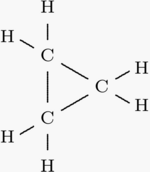 Molecule structure formula of cyclopropane