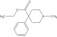 Chemical structure of pethidine.
