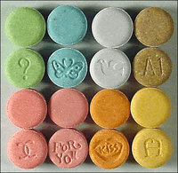 Ecstasy commonly appears in a tablet form, usually imprinted with a monogram.