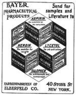 Advertisement for Aspirin, Heroin, Lycetol, Salophen