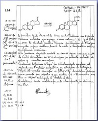 Luis E. Miramontes signed laboratory notebook. October 15, 1951
