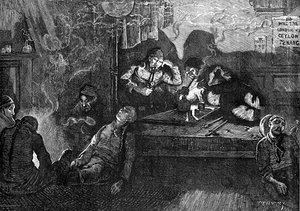 "Depiction of opium smokers in an ""opium den"" in the East End of London, 1874."