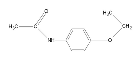 Chemical structure of phenacetin.